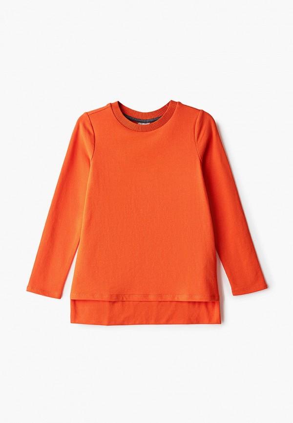 лонгслив gulliver для девочки, оранжевый