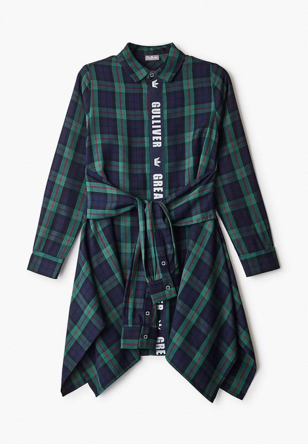 повседневные платье gulliver для девочки, зеленое