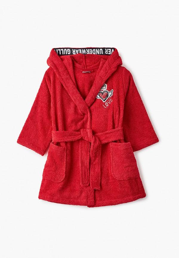 халат gulliver для девочки, красный