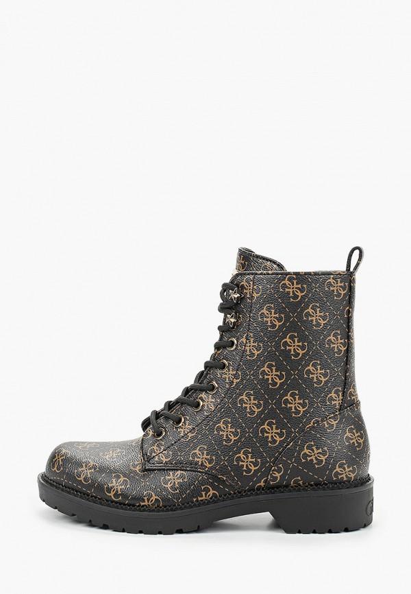 женские высокие ботинки guess, коричневые