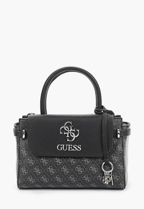женская сумка с ручками guess, черная
