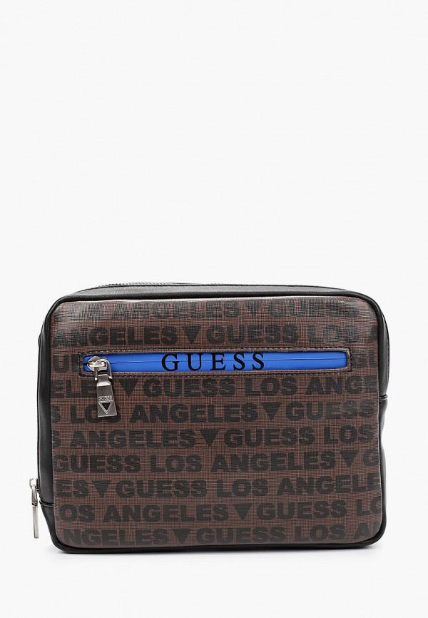 мужская сумка через плечо guess, коричневая