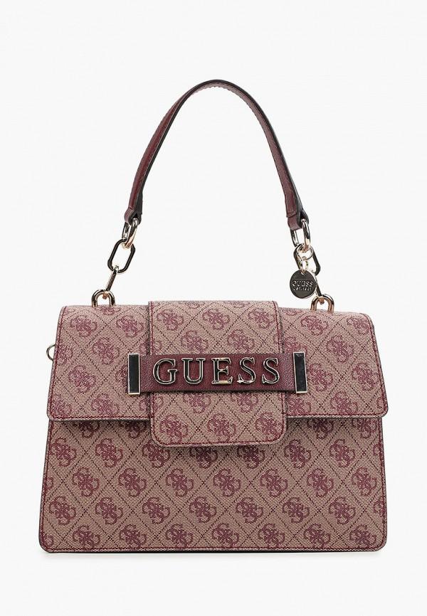 женская сумка guess, бордовая