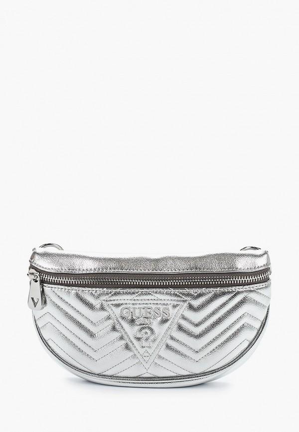 женская сумка guess, серебряная