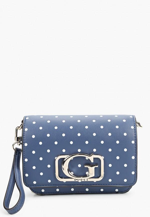 женская сумка через плечо guess, синяя