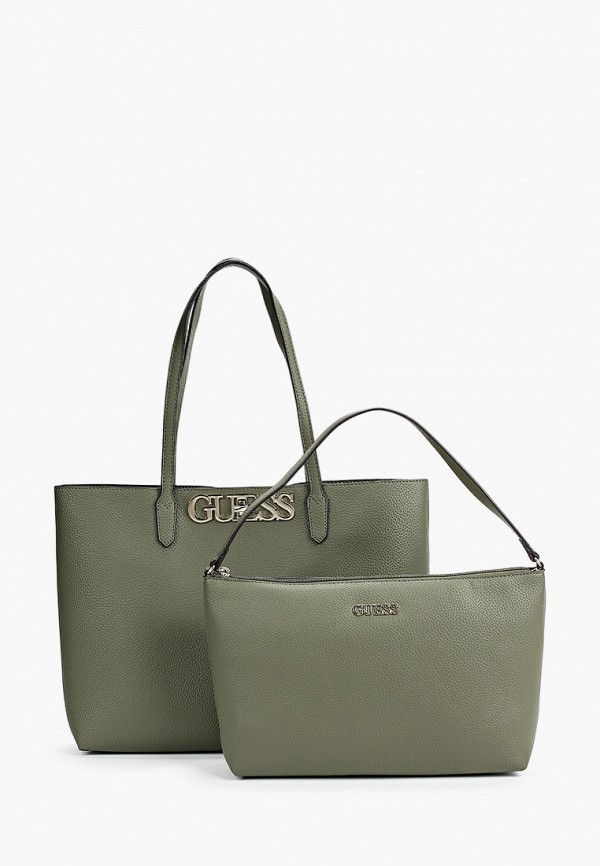 женская сумка-шоперы guess, зеленая