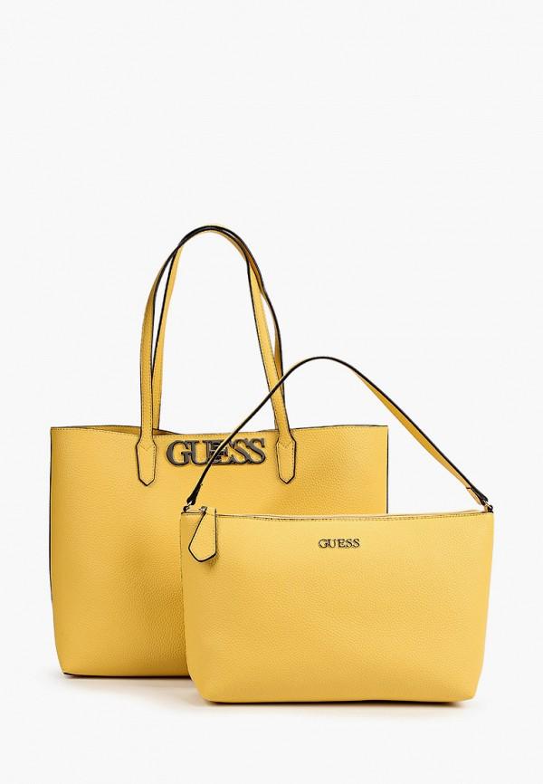 женская сумка-шоперы guess, желтая