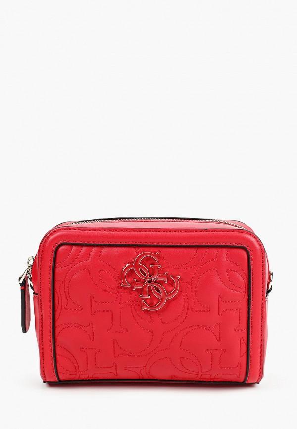 женская сумка guess, красная