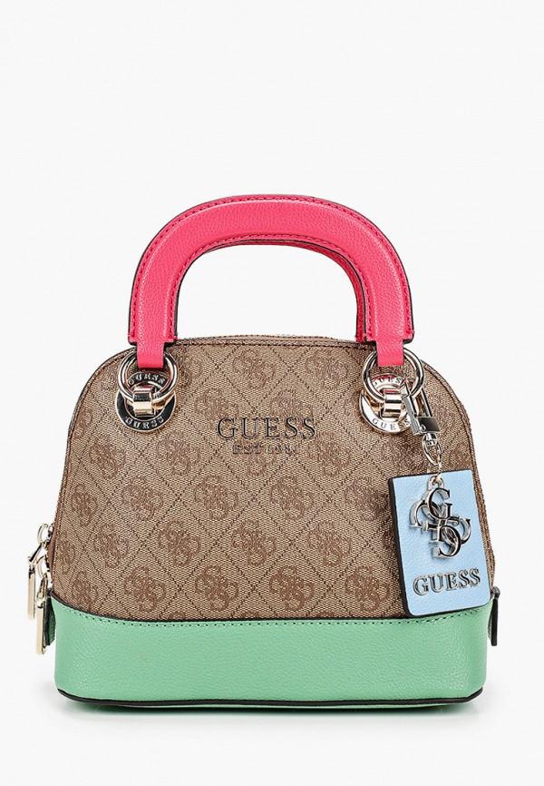 женская сумка guess, коричневая