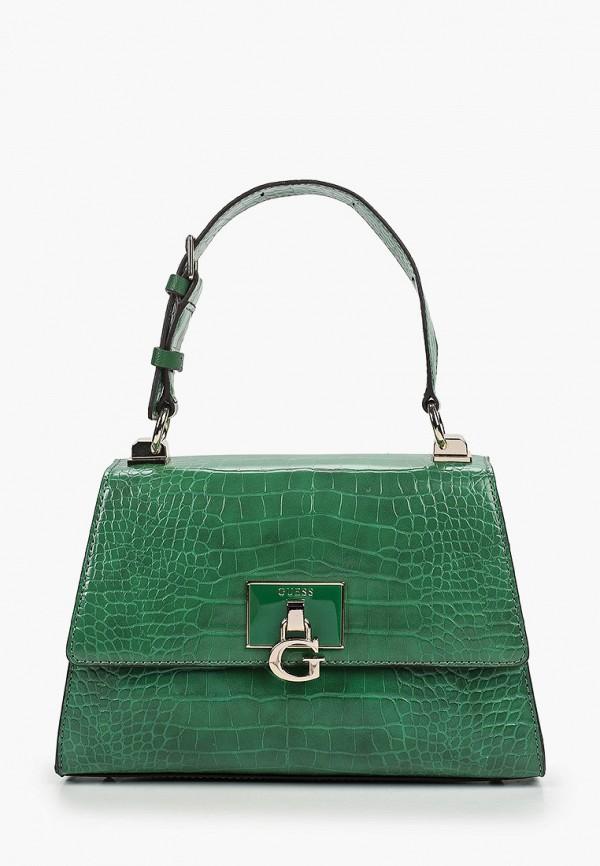 женская сумка с ручками guess, зеленая