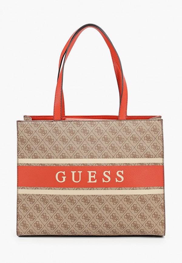 женская сумка guess, бежевая