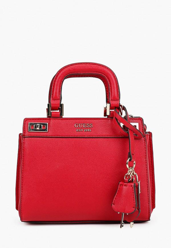 женская сумка с ручками guess, красная