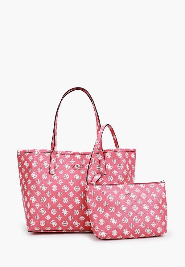 женская косметичка с ручками guess, розовая