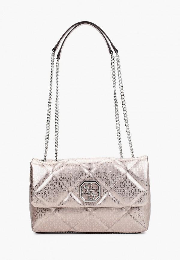 женская сумка через плечо guess, золотая