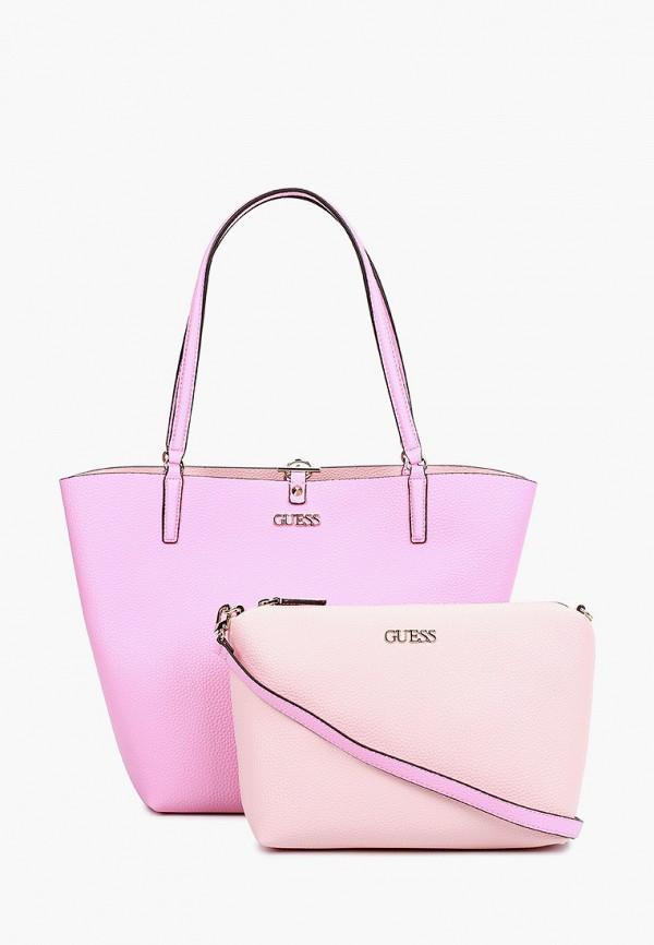 женская косметичка-шоперы guess, розовая