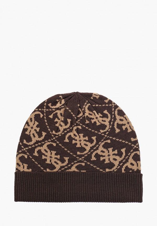 мужская шапка guess, коричневая