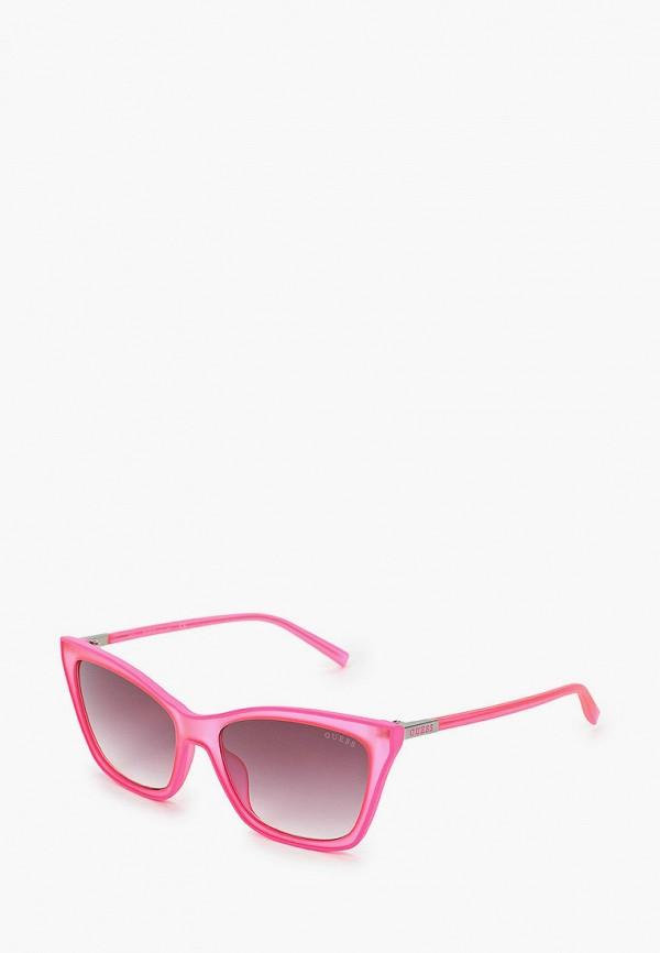 женские солнцезащитные очки кошачьи глаза guess, розовые