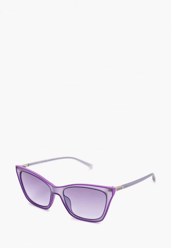 женские солнцезащитные очки кошачьи глаза guess, фиолетовые