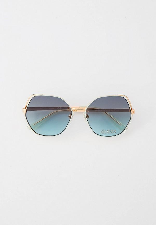 женские круглые солнцезащитные очки guess, голубые