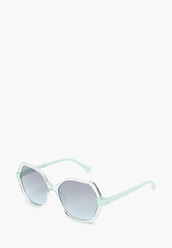 женские круглые солнцезащитные очки guess, зеленые