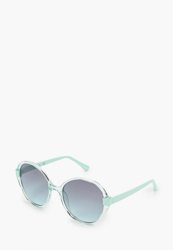 женские круглые солнцезащитные очки guess, бирюзовые