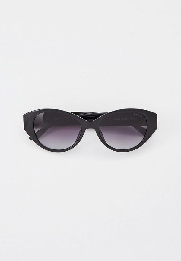 женские круглые солнцезащитные очки guess, черные