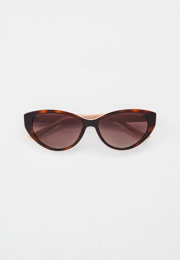 женские солнцезащитные очки кошачьи глаза guess, коричневые