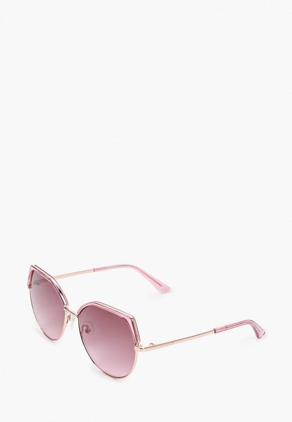 женские круглые солнцезащитные очки guess, розовые
