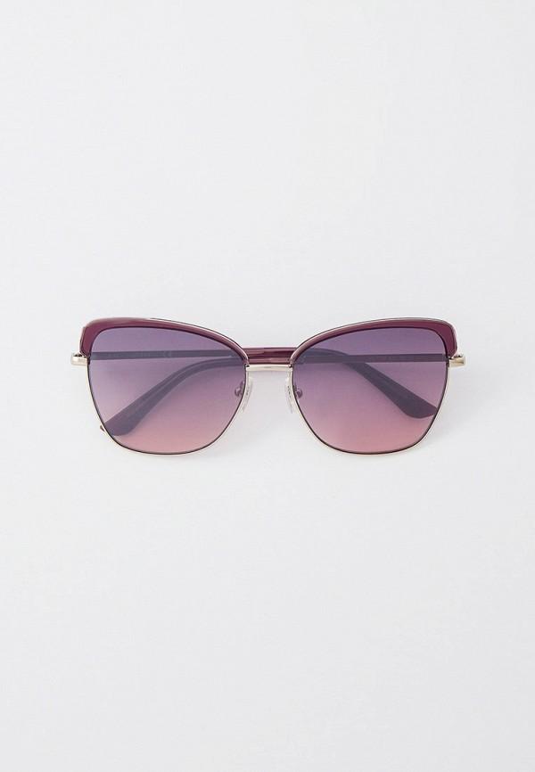 женские солнцезащитные очки кошачьи глаза guess, серебряные