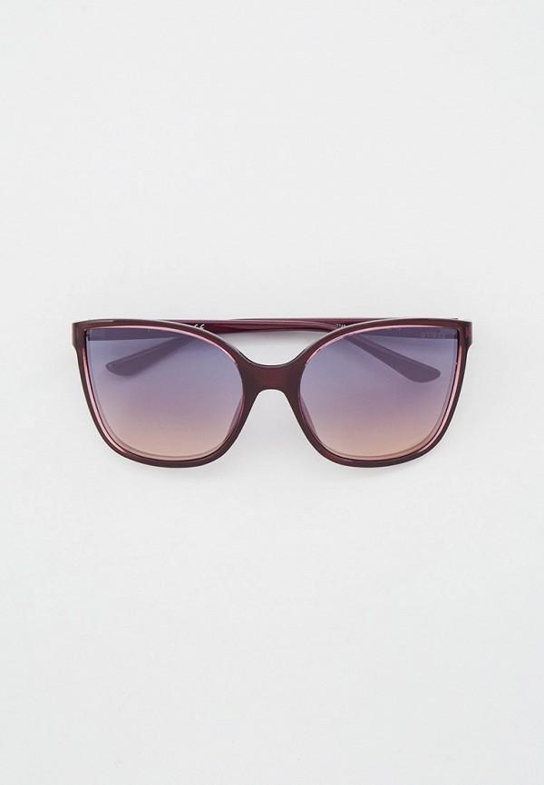 женские квадратные солнцезащитные очки guess, фиолетовые
