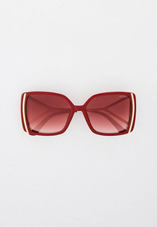 женские квадратные солнцезащитные очки guess, бордовые
