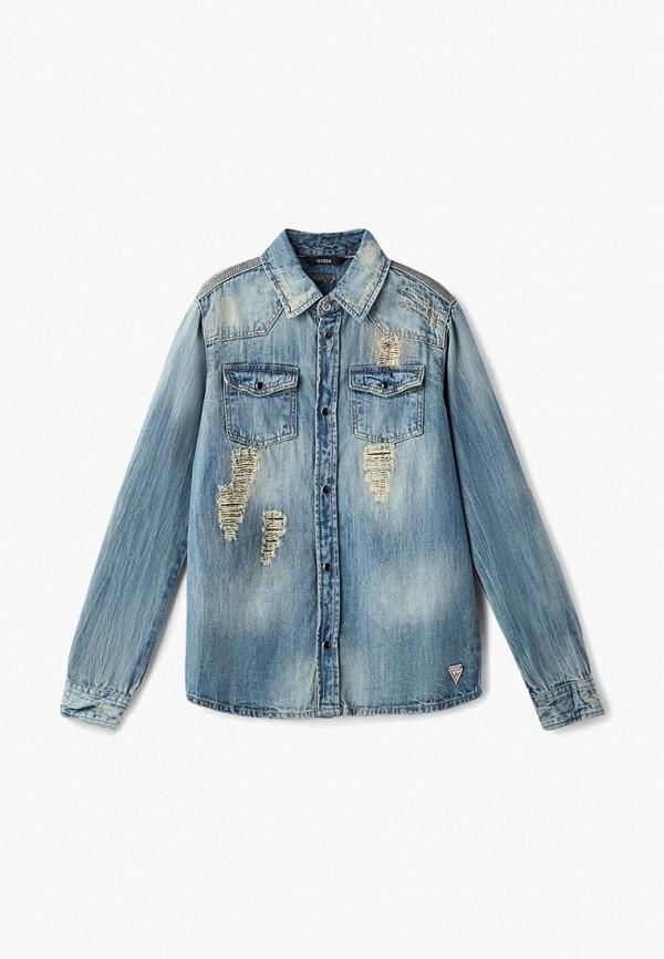 Купить Рубашка джинсовая Guess, GU460EBCFRS9, голубой, Осень-зима 2018/2019