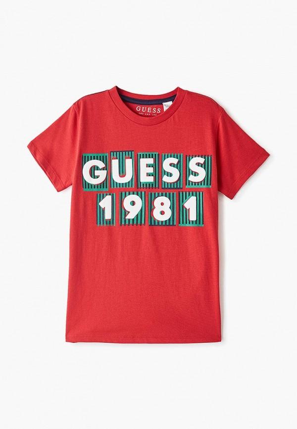 футболка с коротким рукавом guess для мальчика, красная