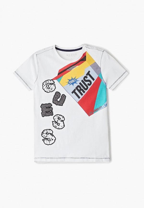 футболка guess для мальчика, белая