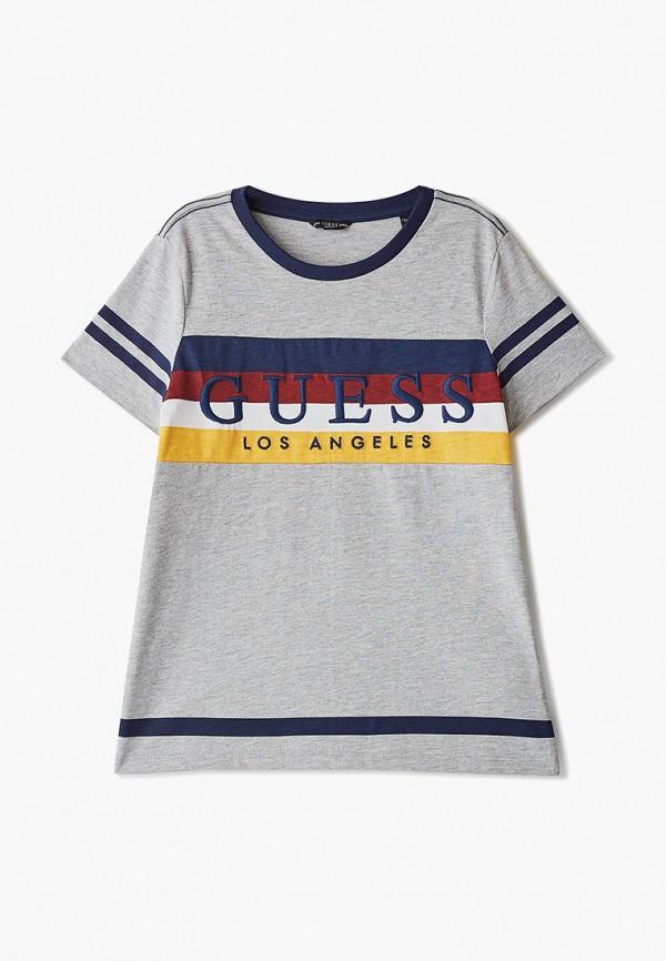 футболка guess для мальчика, серая
