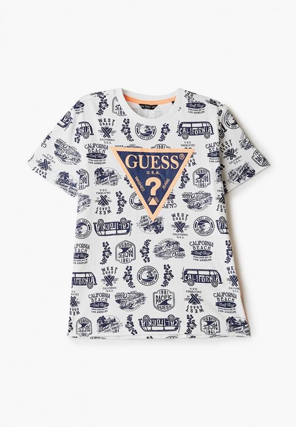 футболка с коротким рукавом guess для мальчика, белая