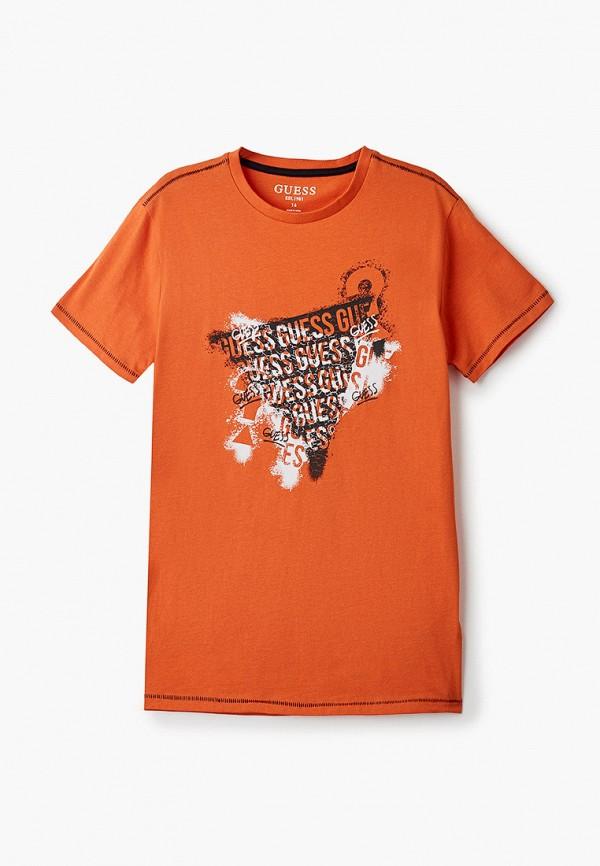 футболка с коротким рукавом guess для мальчика, оранжевая