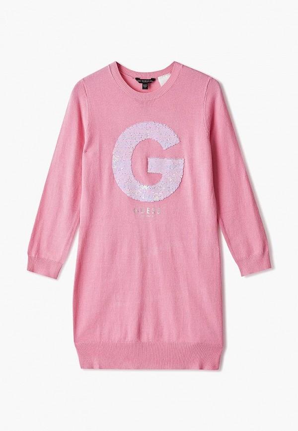 повседневные платье guess для девочки, розовое