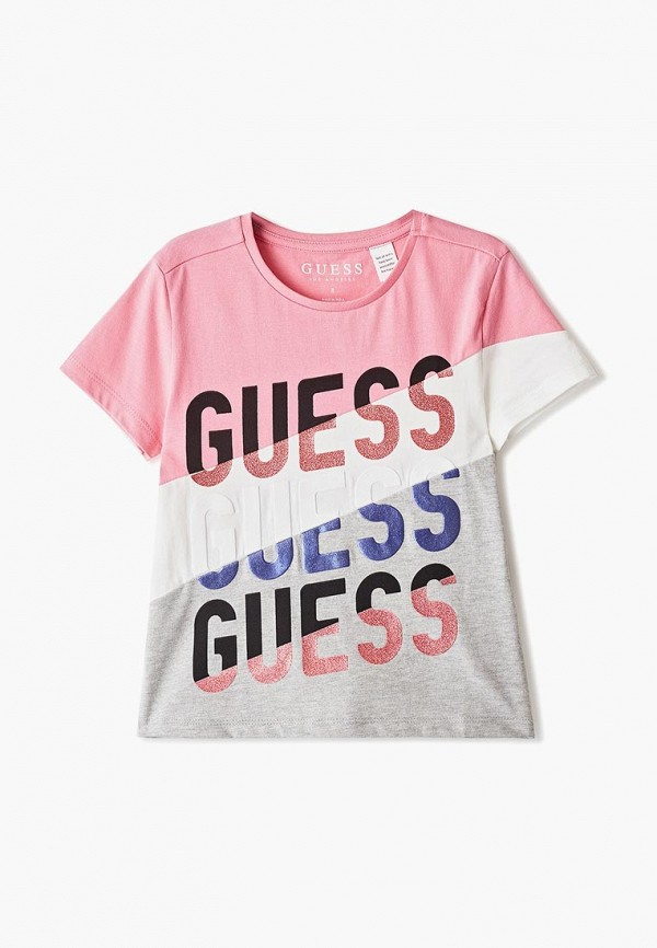 футболка guess для девочки, разноцветная