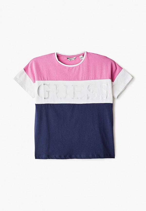 футболка с коротким рукавом guess для девочки, разноцветная