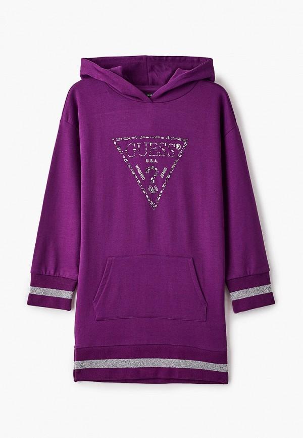 повседневные платье guess для девочки, фиолетовое