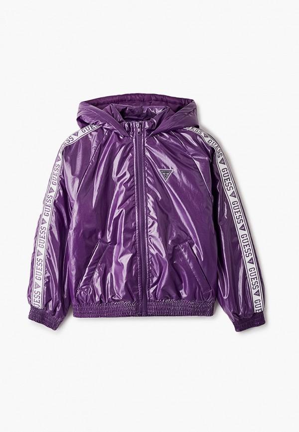утепленные куртка guess для девочки, фиолетовая
