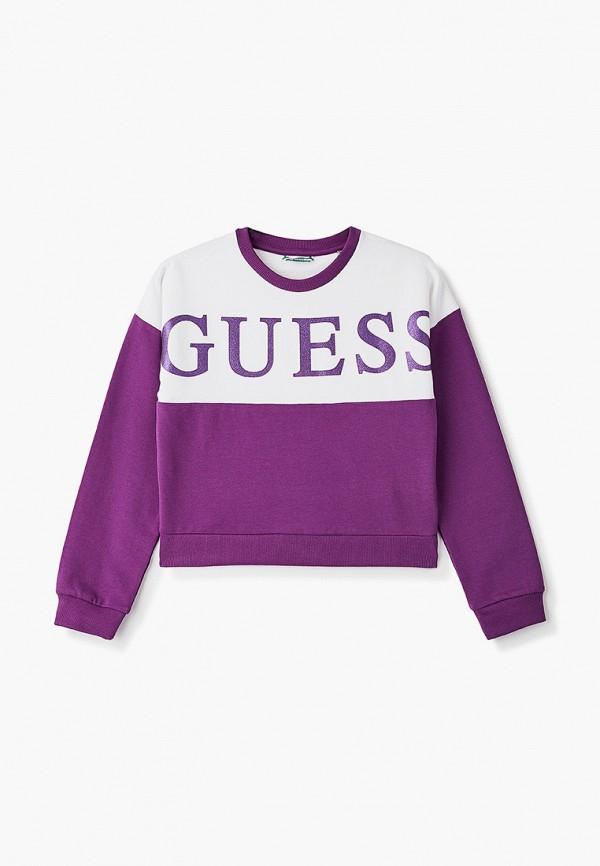 свитшот guess для девочки, фиолетовый