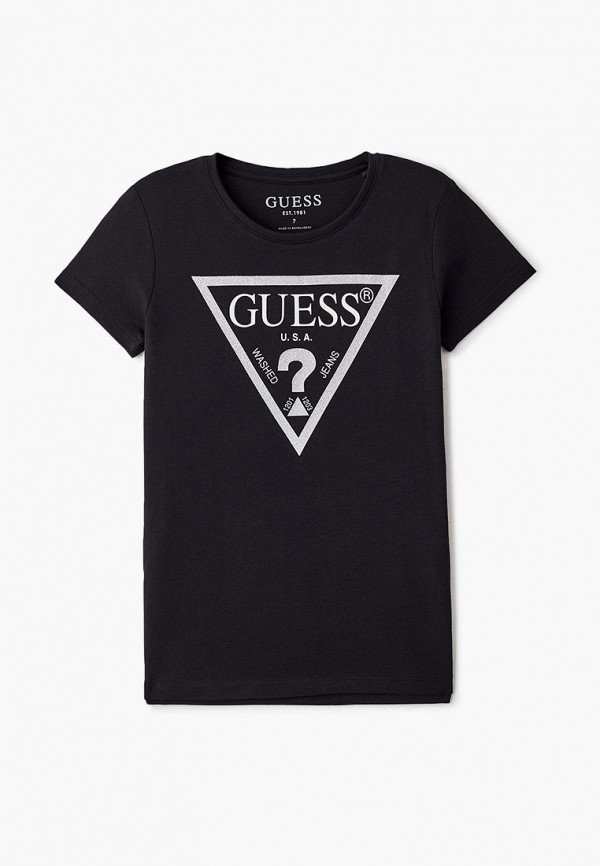 футболка с коротким рукавом guess для девочки, черная