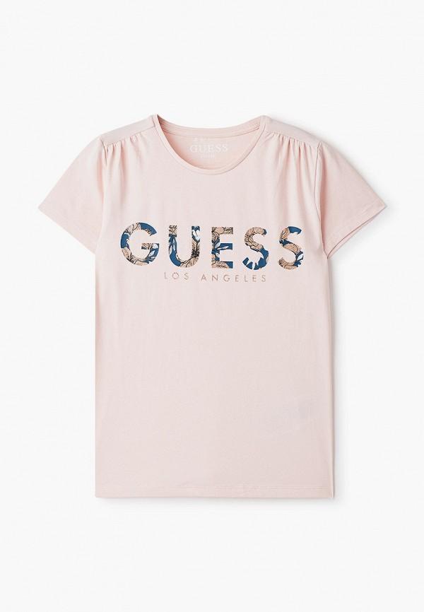 футболка с коротким рукавом guess для девочки, розовая