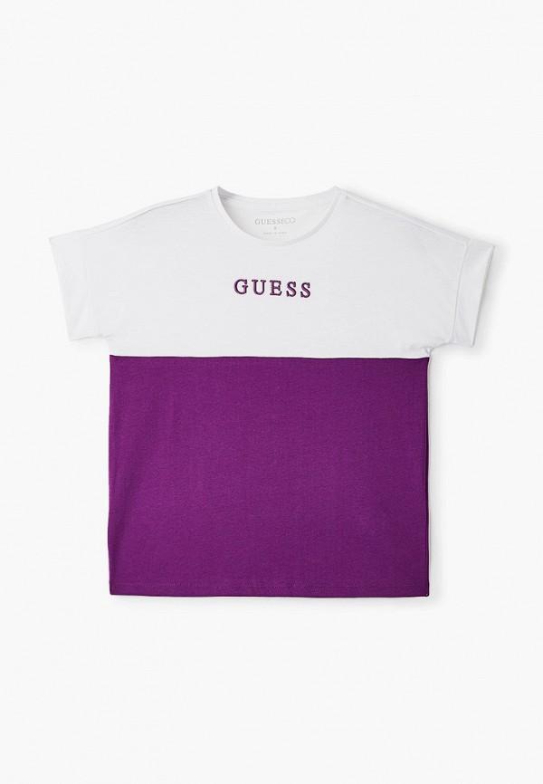 футболка с коротким рукавом guess для девочки, фиолетовая
