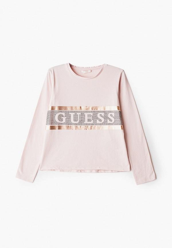лонгслив guess для девочки, розовый