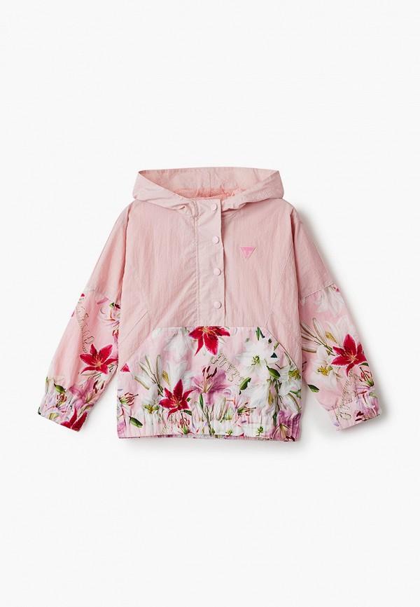 ветровка guess для девочки, розовая