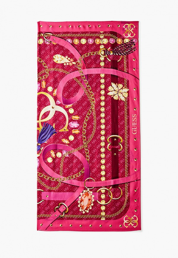 женский платок guess, розовый