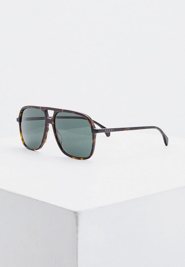 мужские авиаторы солнцезащитные очки gucci, коричневые